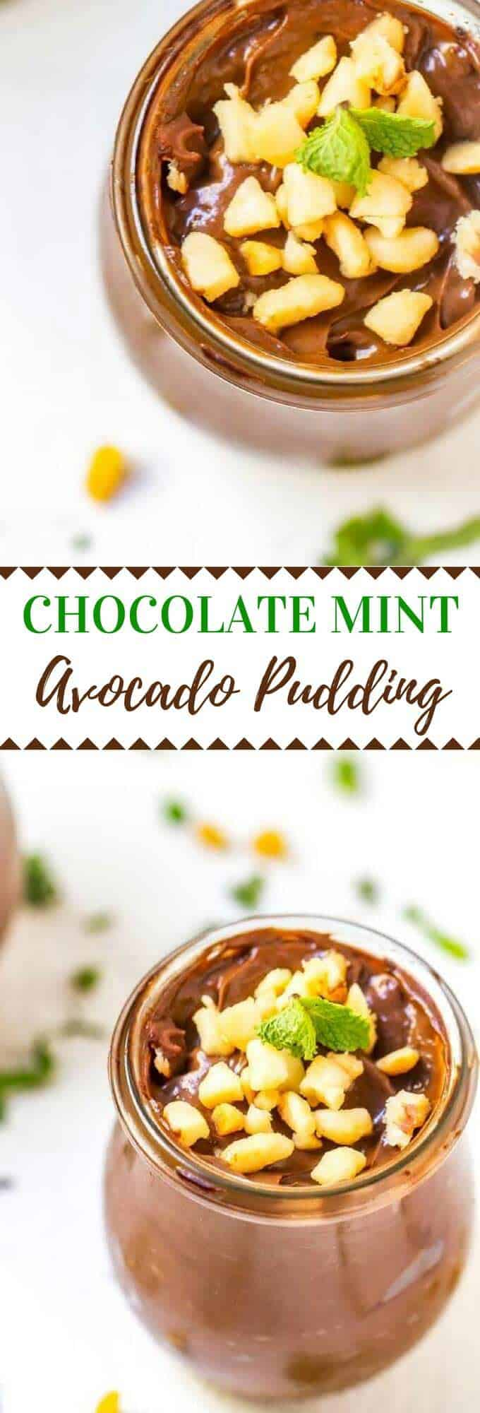 Shhh...don't tell the kids this Chocolate Mint Avocado Pudding is packed with nutrition.  With avocado, omega 3s and greens powder, this Chocolate Avocado Pudding is a nutritional powerhouse! #dairyfree #glutenfree #healthy #chocolate