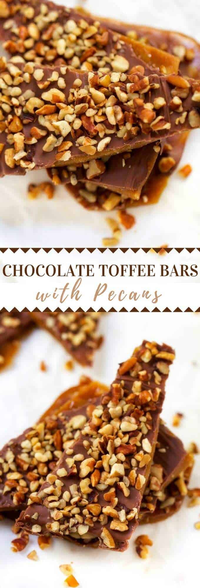 This Chocolate Toffee with Pecans is perfect when you need a bite of something sweet!  The perfect solution to your chocolate cravings. #chocolate #toffee #dessert
