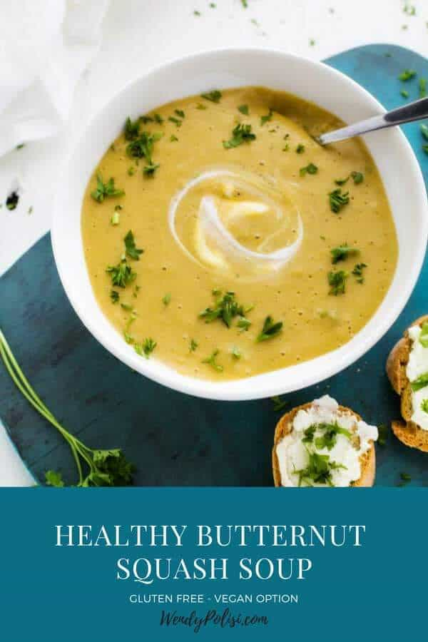 Photo of a Healthy Butternut Squash Soup with the Recipe title below.