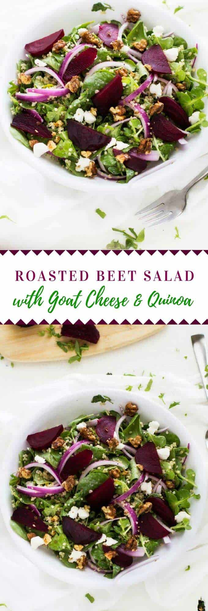ThisRoasted Beet Salad with Goat Cheese & Quinoa has a delicious poppy seed dressing. It makes a fabulous vegetarian main course salad or side dish. #quinoa #salad #vegetarian