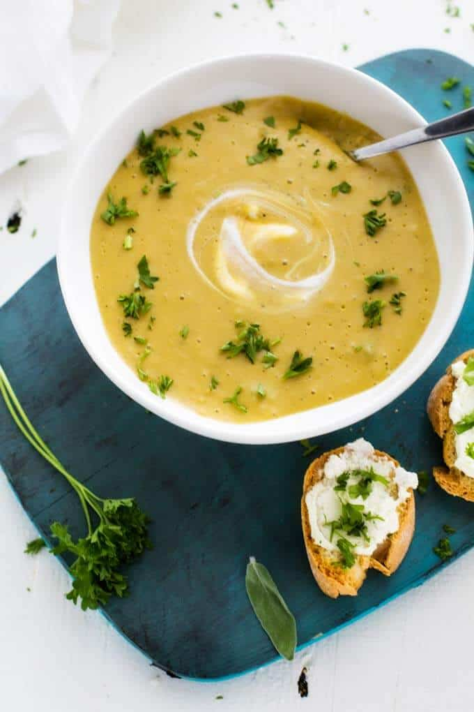 Close up shot of Healthy Butternut Squash Soup