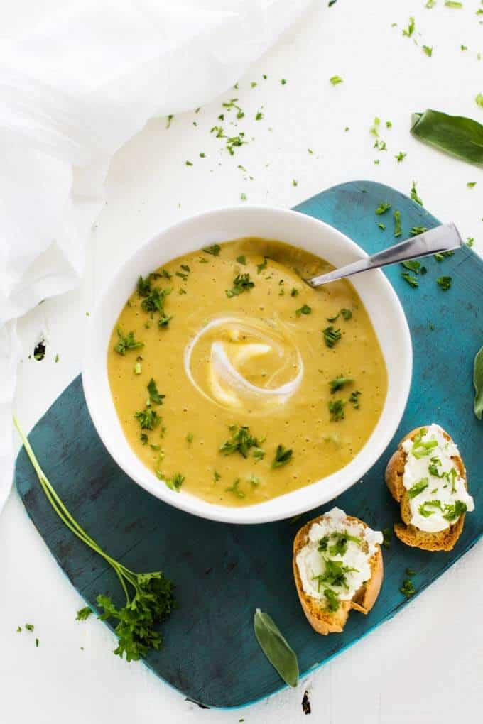 Overhead shot of Healthy Butternut Squash Soup.