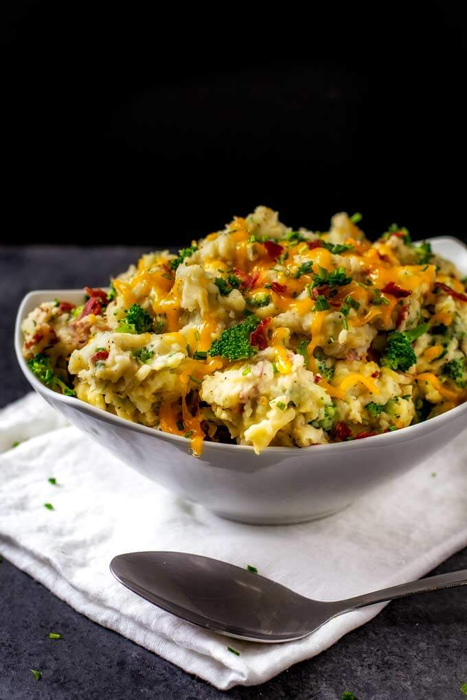 Side shot of Cheesy Mashed Potatoes with Bacon and Broccoli