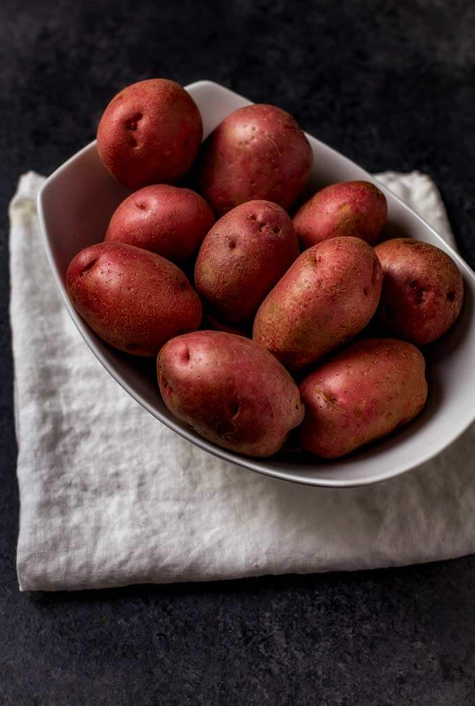 Potatoes in a white bowl