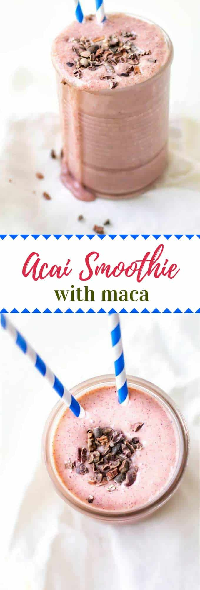 This Acai Smoothie Recipe is a delicious healthy drink that will boost for energy, support your immune system and help with detox.  Made with acai powder, this vegan smoothie is loaded with superfoods.
