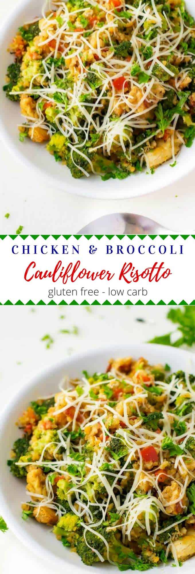 This one-pan recipe for Chicken Broccoli Cauliflower Risotto is low-carb and comes together in about 20 minutes.  It is an easy weeknight recipe that is perfect for a clean eating diet.  Gluten-Free and Keto Friendly.