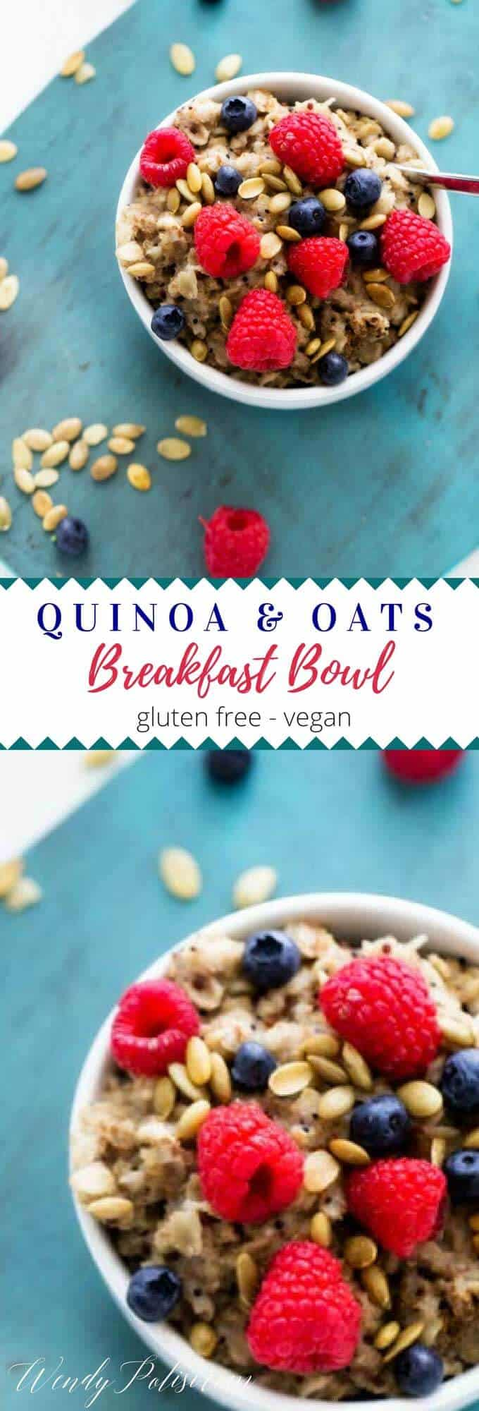 This Quinoa Oatmeal Breakfast Bowl is the perfect clean eating breakfast to fuel your day! Made with almond milk, this vegan quinoa breakfast recipe adds a touch of delicious to your mornings. #quinoa #quinoabreakfast #healthybreakfast