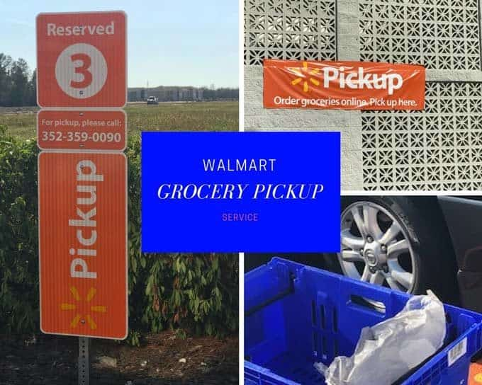 Photo collage of grocery pick up at walmart.