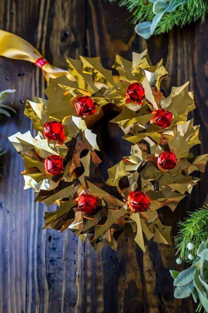 Photo of gold DIY Christmas Wreath on a dark background