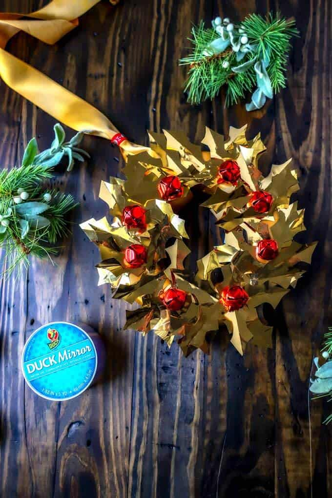 Overhead photo of Duck Mirror crafting tape and DIY Christmas Wreath made with it