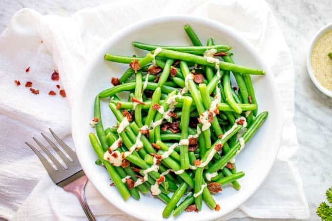 Horizontal photo of Green Beans with Bacon