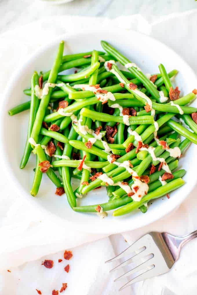 Close up shot of Green Beans with Bacon