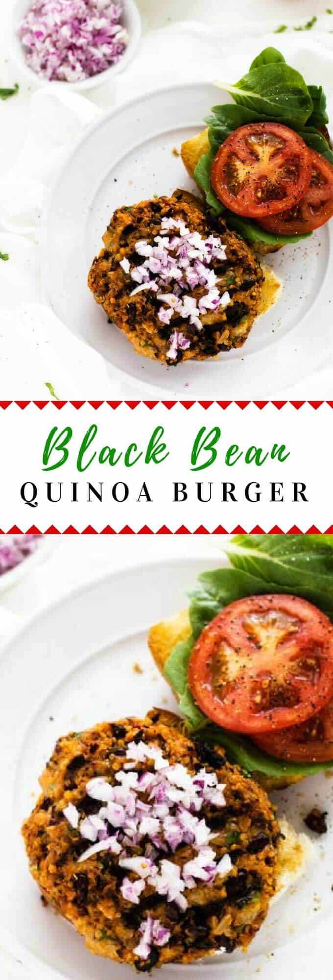 For a healthy lunch or dinner try a Black Bean Quinoa Burger!  This easy recipe is gluten free and loaded with spices.  These quinoa black bean burgers are perfect for Meatless Monday.  Vegetarian with a vegan option. #quinoa #MeatlessMonday #vegetarian #glutenfree