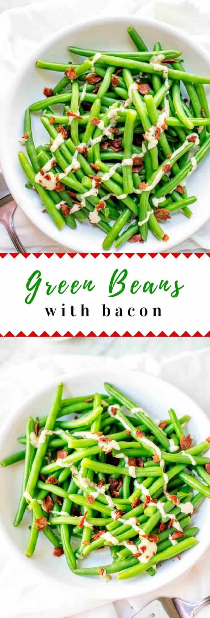 Green Beans with Bacon are an great easy to make side dish that is perfect for most any occasion. Fresh green beans and bacon are elevated with a delicious garlic tahini sauce. #vegetables #greenbeans #greenbeanrecipes #healthyrecipes