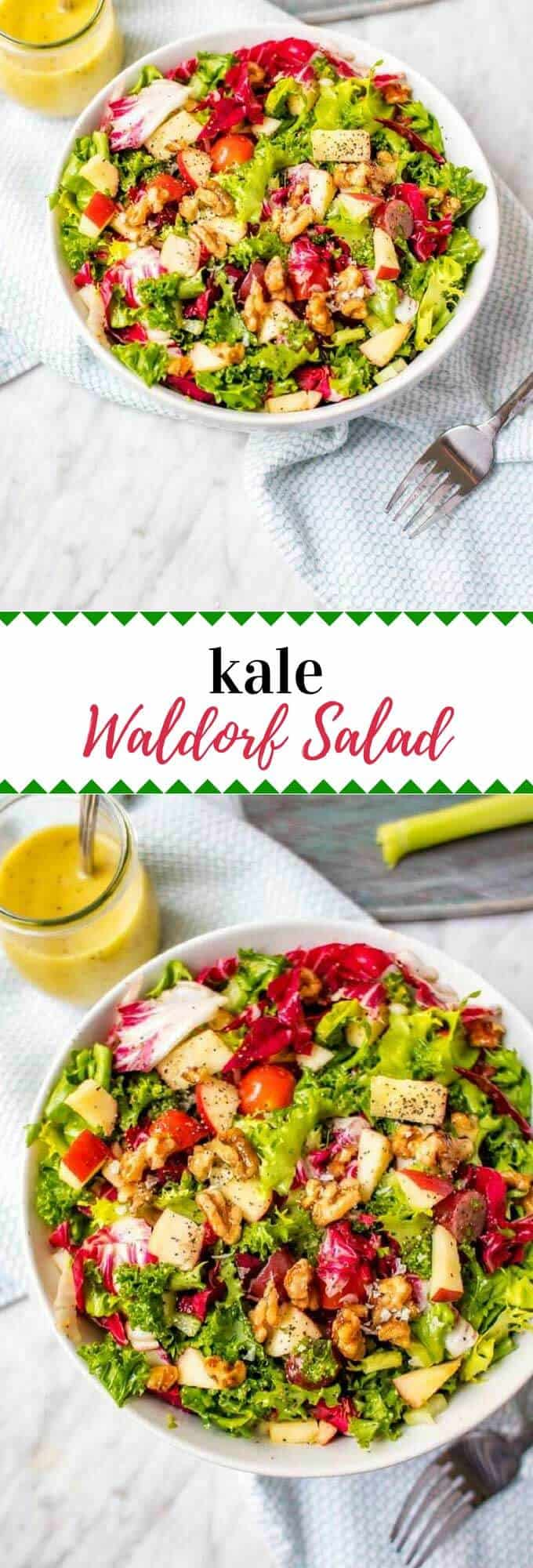 This Kale Waldorf Salad is a healthy vegan salad recipe that the whole family will love.  It is a fun healthier twist on a classic, with a lightened up dressing that will become a favorite.