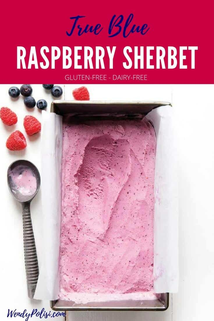 Enjoy this True Blue Raspberry Sherbet for a light and refreshing treat that the whole family will love! It is dairy free, gluten free and has just 6 ingredients. #dairyfree #glutenfree