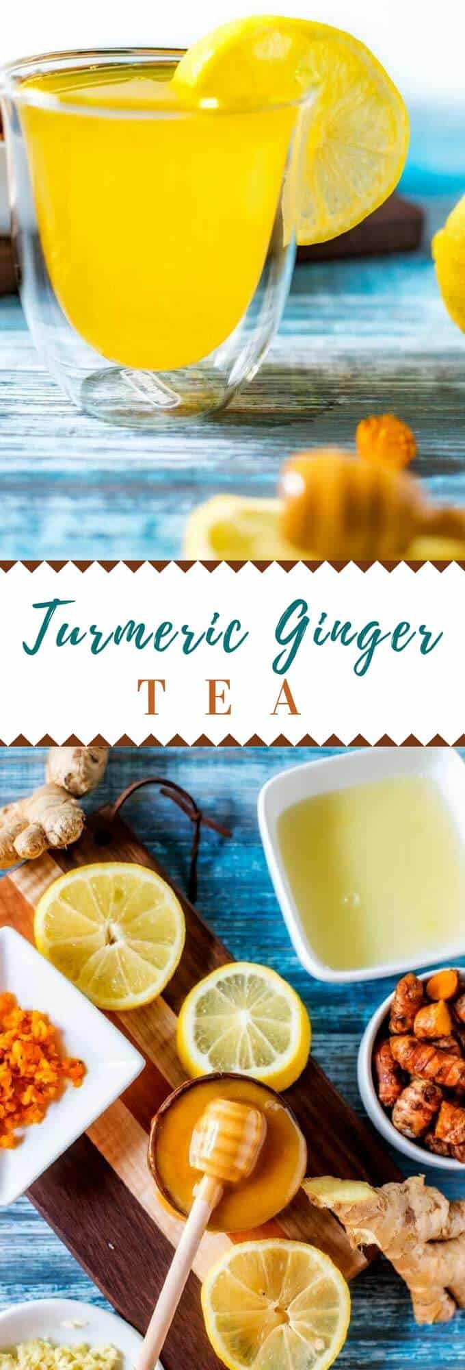 This Turmeric Ginger Tea is the perfect turmeric tea recipe to help combat colds, inflammation and support detox!  #turmeric #cold #flu #Inflammation