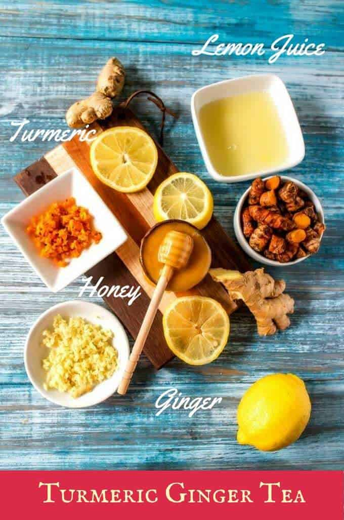Photo of ingredients for a turmeric ginger tea recipe with labels.