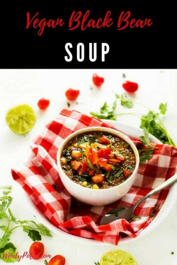 This Vegan Black Bean Soup is a healthy recipe that is perfect for your clean eating diet!  Aren't easy to make comfort foods the best?!  #easy #healthy #recipe #comfortfood #soup #vegan #quinoa #quinoarecipes #healthyrecipes #healthyfood #glutenfree #glutenfreerecipes #healthyglutenfreerecipes