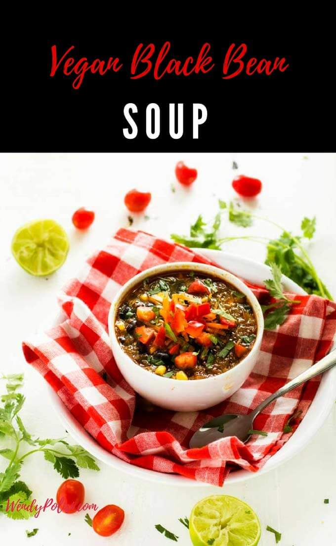 This Vegan Black Bean Soup is a healthy recipe that is perfect for your clean eating diet!  Aren't easy to make comfort foods the best?!  #easy #healthy #recipe #comfortfood #soup #vegan