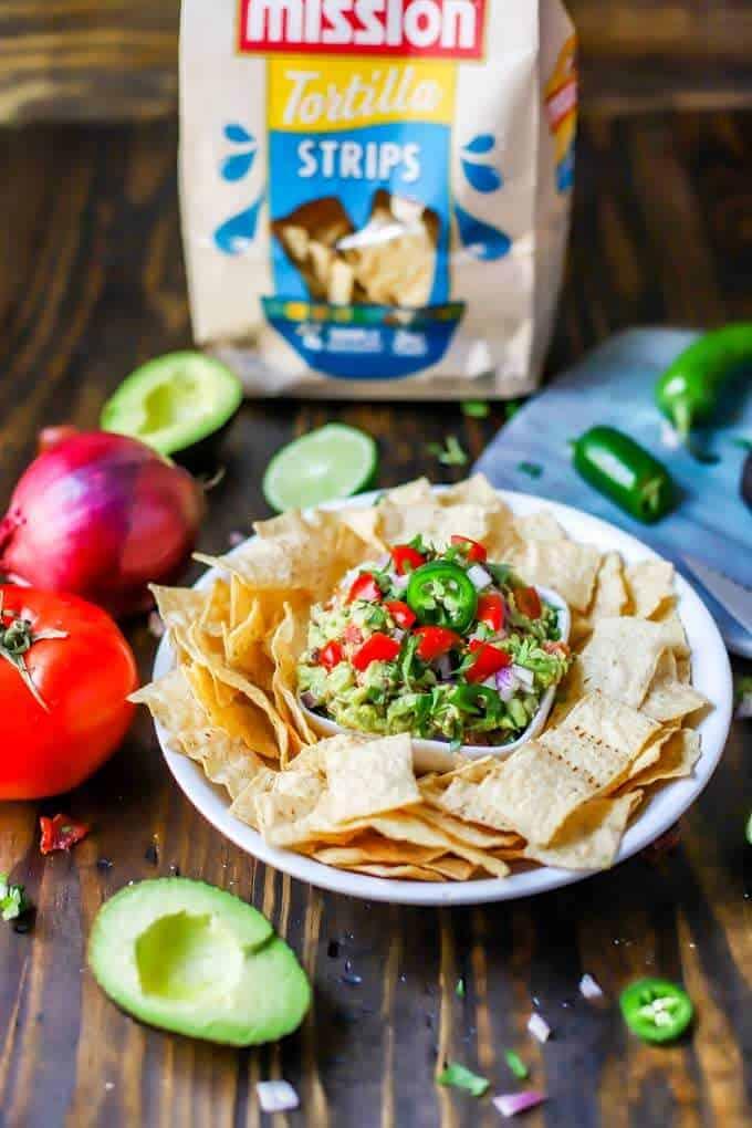 Photo of Bacon Guacamole and a bag of tortilla strips