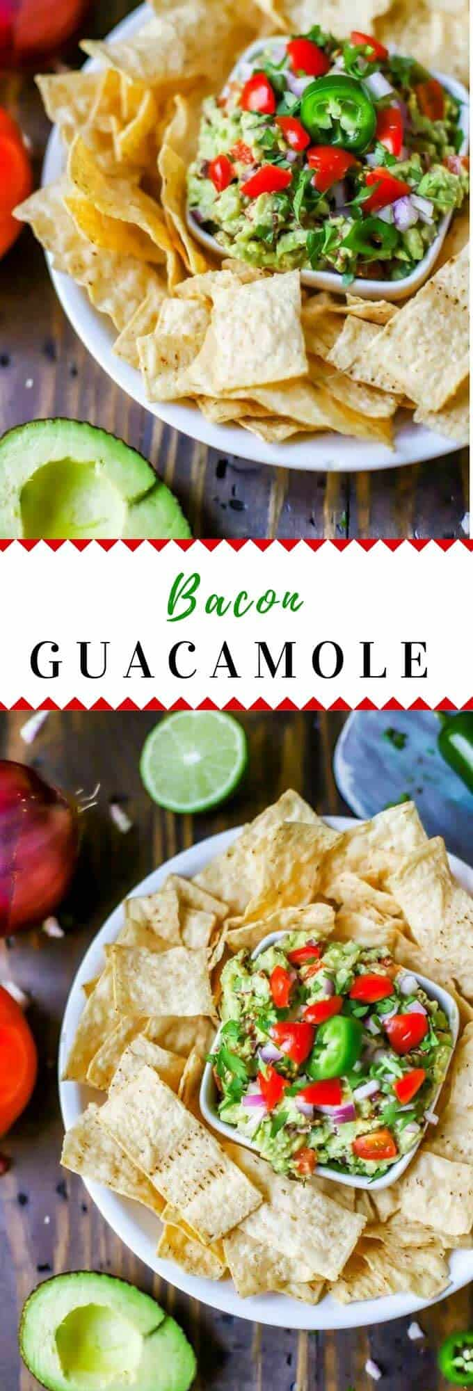 Looking for appetizers that are easy to make? This Bacon Guacamole Dip is the perfect gluten free recipe for parties and game day! #gamedayrecipes #glutenfree #avocado #gameday #avocadorecipes #guacamole
