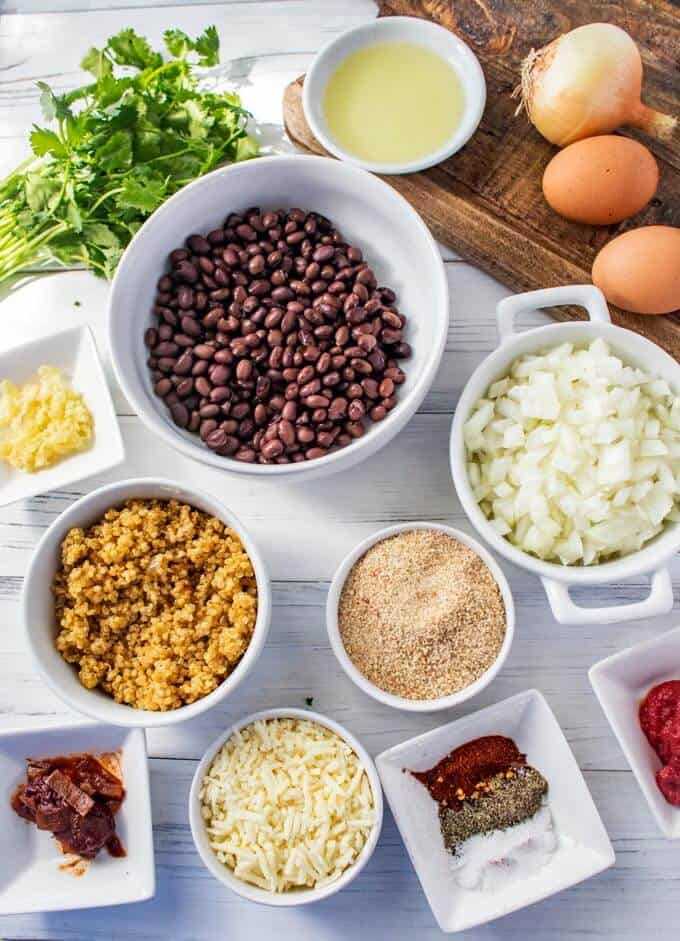 Photo of ingredients to make a black bean quinoa burger measured and laid out.