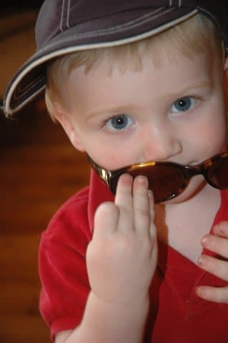 Two-year-old- boy wearing sunglasses