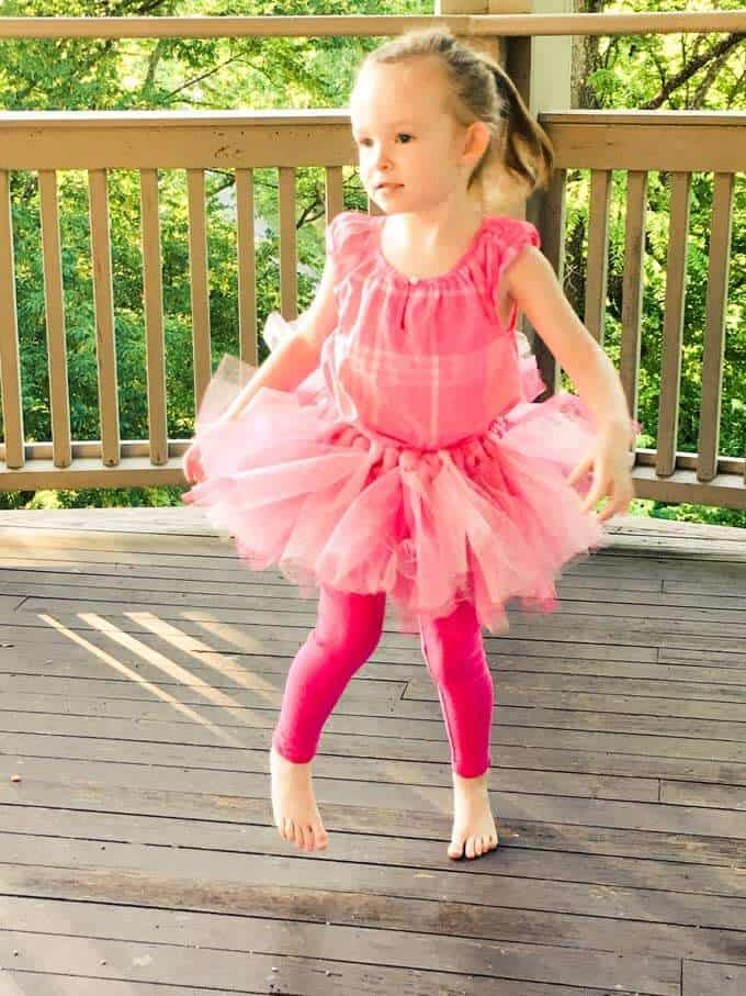 Photo of preschool girl in a tutu
