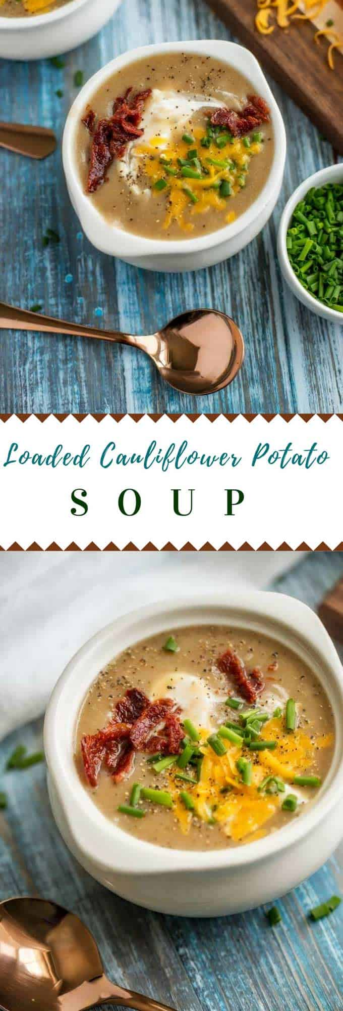 This creamy Cauliflower Potato Soup is a deliciously healthy alternative to potato soup that is made without milk or cream. The carbs are kept in check by the addition of cauliflower, but I promise, you won't miss a thing! This Cauliflower and Potato Soup is topped off with sour cream, chives, cheese, and bacon, making this healthier soup recipe one the whole family will crave! #soup #healthysoup #potatosoup #cauliflowersoup #glutenfree