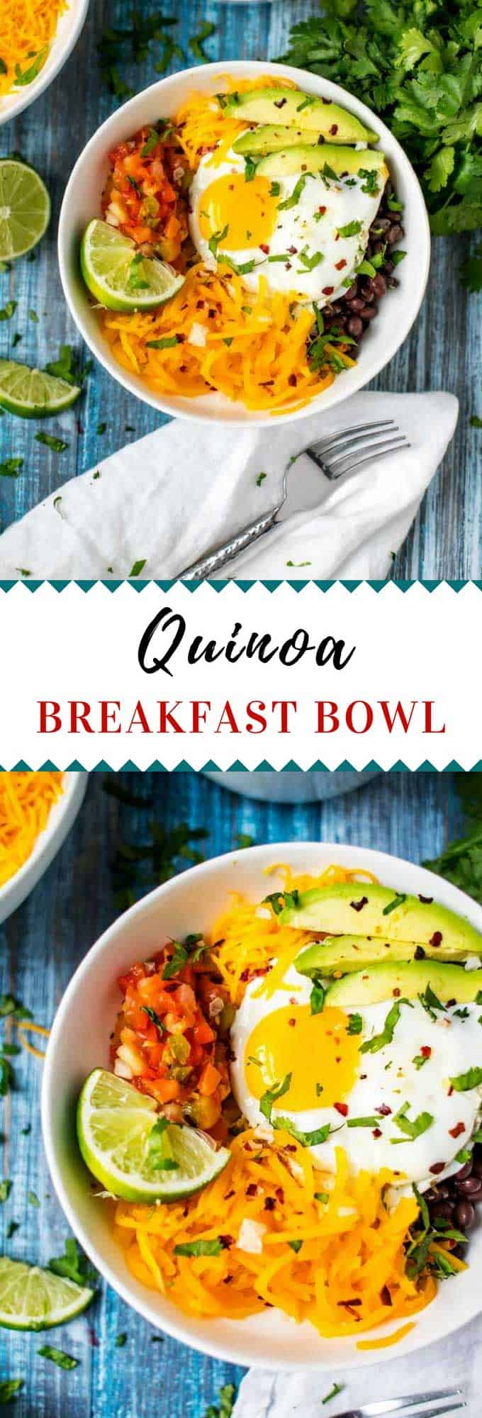 This Quinoa Breakfast Bowl with Egg and Butternut Squash is a great healthy way to start your day. #VeggieSwapIns #IC  #quinoa #veggies #breakfastrecipes