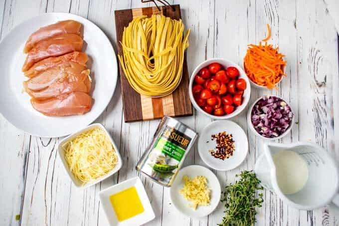 Ingredients gathered for Pasta Primavera with Chicken.