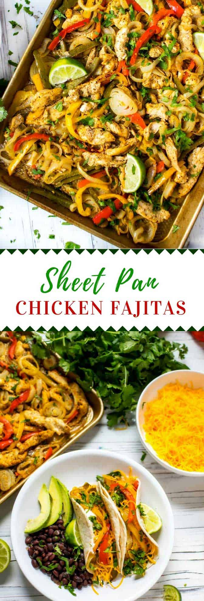 If you love healthy Mexican food as much as I do, you are going to love these Sheet Pan Chicken Fajitas! They are so easy to make that you will find yourself making this Sheet Pan Fajita recipe on a regular basis. #MexicanRecipes #fajitas #glutenfree #sheetpan #easyrecipe