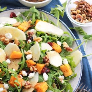 Butternut Apple Arugula Salad with Balsamic Dressing
