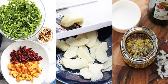 Ingredients for Butternut Apple Arugula Salad