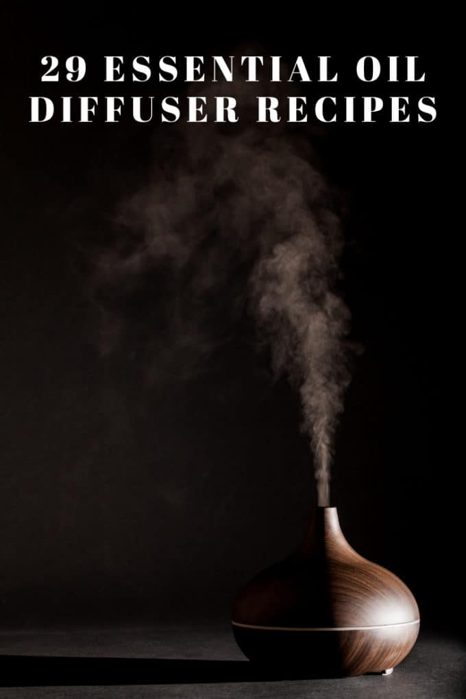 "Photo of an Essential Oil Diffuser against a black background with the text in white that says ""Essential Oil Diffuser Recipes:"