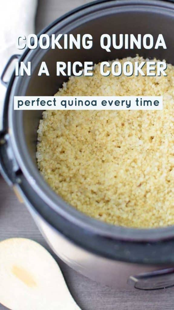 """Photo of quinoa in a rice cooker with the text """"How to Cook Quinoa in a Rice Cooker - Perfect Quinoa Every Time."""""""