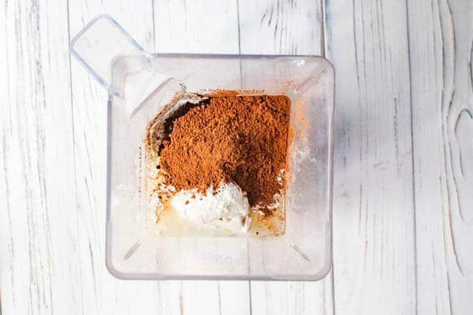 Photo of how to make homemade chocolate ice cream - step two - blend ingredient in the blender.