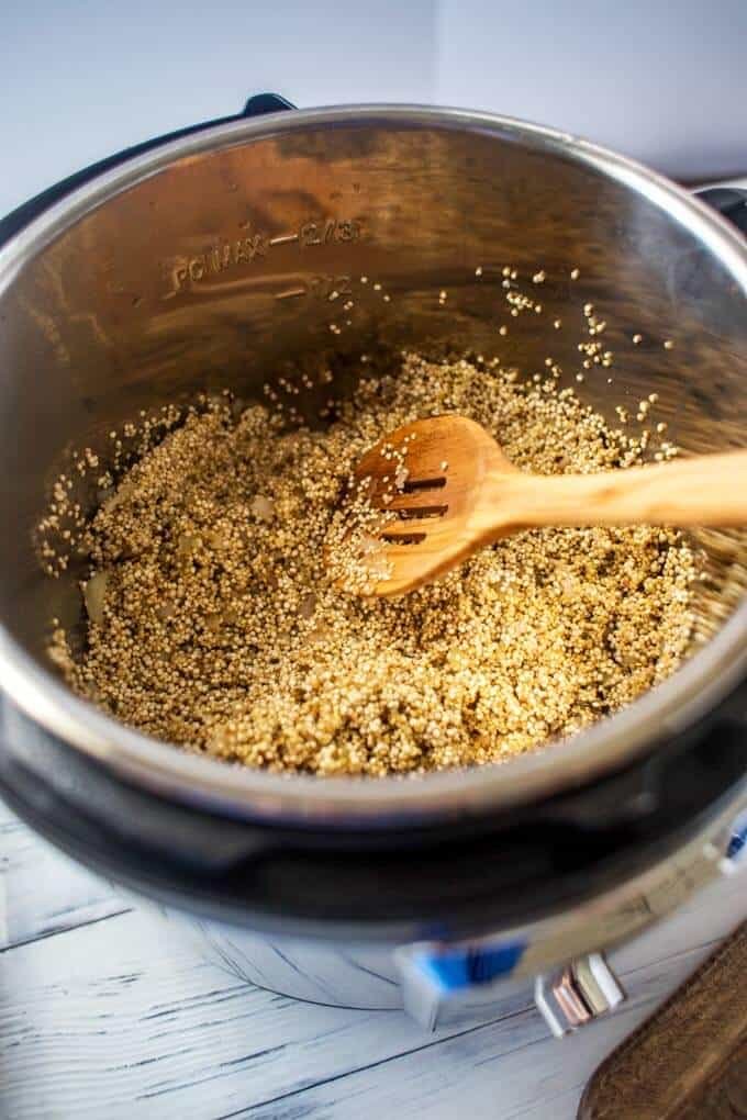 Photo of quinoa toasting in an instant pot.