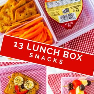Collage of three different lunch box snacks with the post title 13 lunch box snacks.