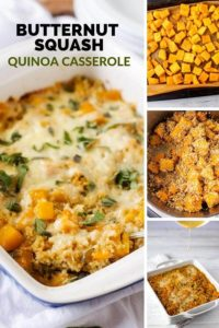 "Prepared Butternut Squash Casserole with three process shots and the text ""Butternut Squash Quinoa Casserole"""