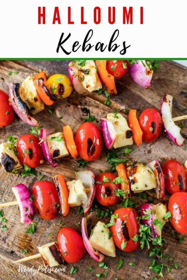 Grilled Halloumi Kebabs are the perfect vegetarian recipe for tailgating or your next football party!  #halloumi #halloumikebabs #veggies #vegetables #tailgating #recipe #footballparty