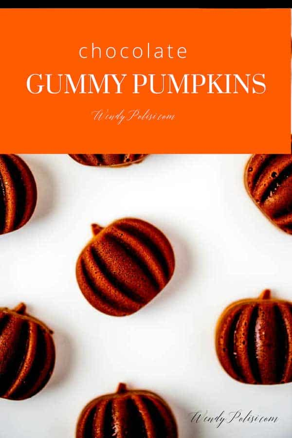 Photo of a prepared gummy recipe with the text Chocolate Gummy Pumpkins above it.
