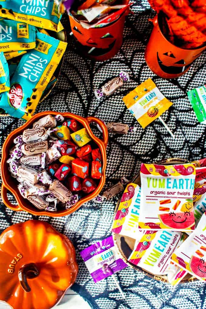Overhead photo of Healthy Halloween Candy options.