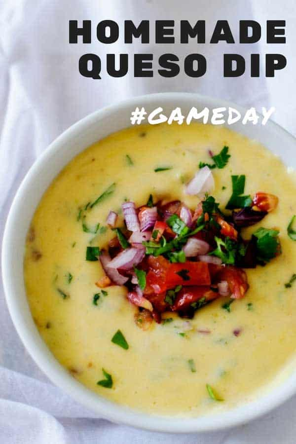This cheesy real food Homemade Queso Dip is perfect for game day!  It is easy, cheesy goodness! #wendypolisi #quesodip #homemadequesodip #gameday #gamedayrecipes #footballparty #appetizer #cheesedip