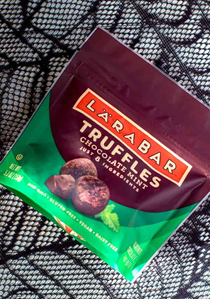 Close up photo of LaraBar Chocolate Mint Truffles.