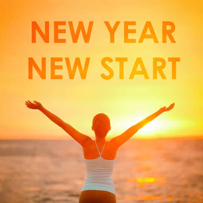 Photo of a fit woman facing the ocean at sunrise with the text New Year New Start - Healthy New Year