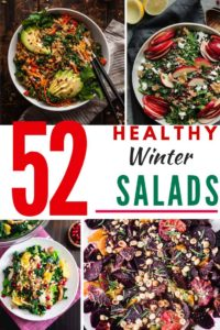 """Photo collage of four winter salads with the text """"52 Healthy Winter Salads"""" in the middle."""
