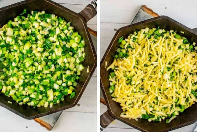 Left photo is vegetables being sautéed for a zucchini frittata, right photo is the cheese sprinkled on top of the vegetables.