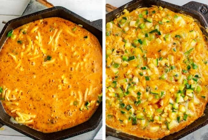 Left photo is eggs poured on top of cheese and vegetables for a zucchini frittata; right photo is the frittata ready to go into the oven.